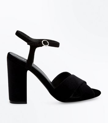 Black Velvet Cross Strap Block Heels