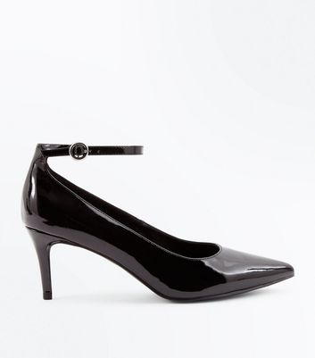 Black Patent Ankle Strap Pointed Courts