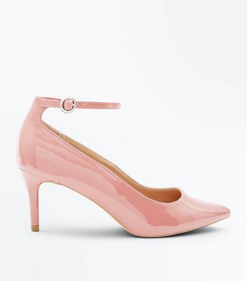 Pink Patent Ankle Strap Pointed Courts