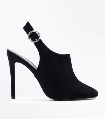 Black Suedette Ring Buckle Sling Back Heels