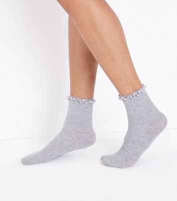 Grey Satin Frill Trim Socks