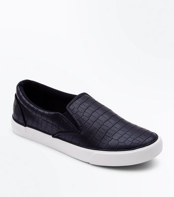 Black Faux Croc Slip On Trainers