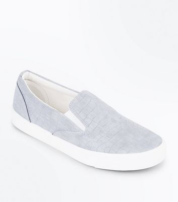 Grey Faux Croc Slip On Trainers