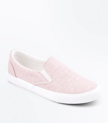 Pink Croc Texture Slip On Trainers