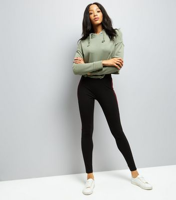 Black Colour Block Leggings
