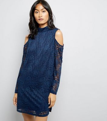 Mela Navy Floral Lace Cold Shoulder Dress