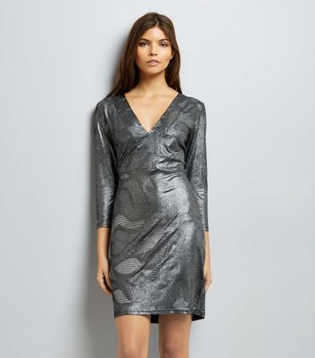 Mela Silver Metallic Print Dress