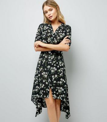 Black Floral Print Hanky Hem Shirt Dress