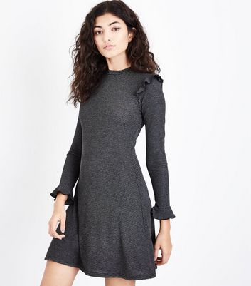 Grey Stripe Ribbed Frill Trim Jersey Dress