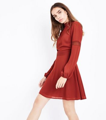 Rust Crochet Trim Balloon Sleeve Dress