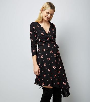 Black Floral Print Asymmetric Wrap Front Midi Dress