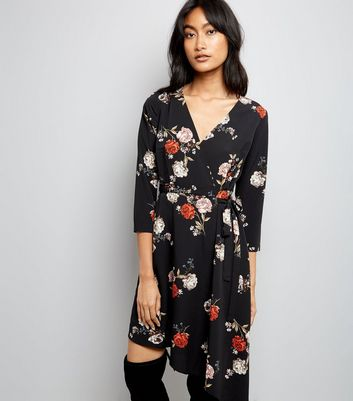 Black Floral Print Asymmetric Wrap Dress