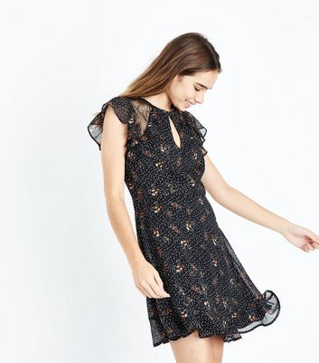 Black Floral Star Print Lace Panel Dress