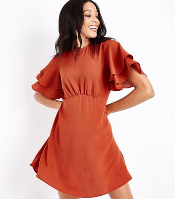Light Brown Tiered Sleeve Tea Dress