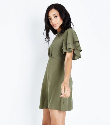 Khaki Tiered Sleeve Tea Dress