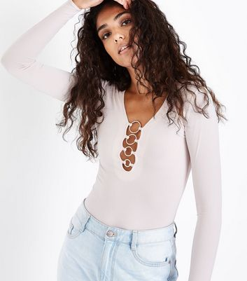 Shell Pink Ring Neck Long Sleeve Bodysuit