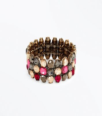 Multi Coloured Gem Embellished Bracelet