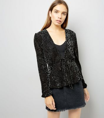 Black Burnout Velvet Tie Front Cardigan
