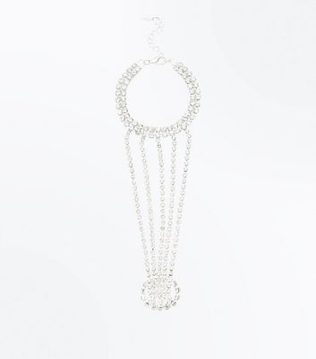 Silver Diamante Embellished Multi Strand Hand Chain