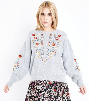 Pale Grey Floral Embroidered Balloon Sleeve Jumper