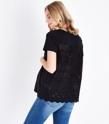 Maternity Black Broderie Back T-Shirt