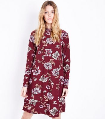 Tall Red Floral High Neck Swing Dress