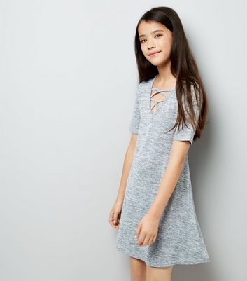 Teens Fine Knit Lattice Front Swing Dress