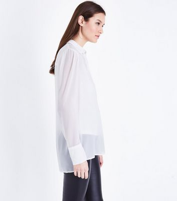 Tall White Chiffon Longline Shirt