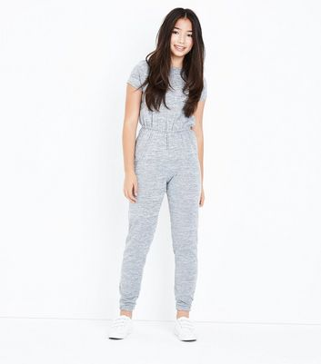 Teenager – Grauer Feinstrick-Jumpsuit