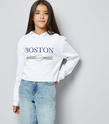"Teenager – Weißer Kapuzenpullover mit ""Boston""-Slogan"