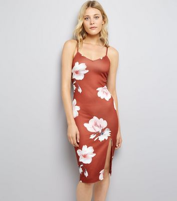Parisian Brown Digital Floral Print Bodycon Dress