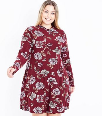 Curves Red Floral High Neck Swing Dress