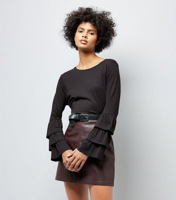 Black Frill Layer Sleeve Top