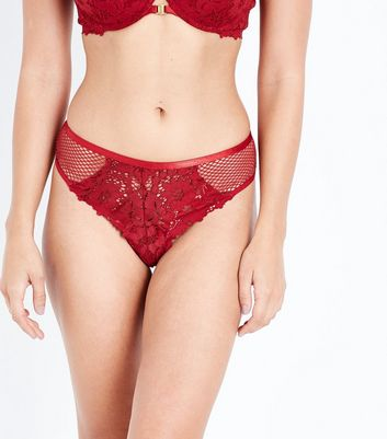 Red Fishnet and Lace Lattice Back Brazilian Briefs
