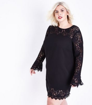 Curves Black Lace Trim Bell Sleeve Tunic Dress