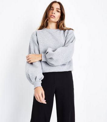 Grey Balloon Sleeve Sweatshirt