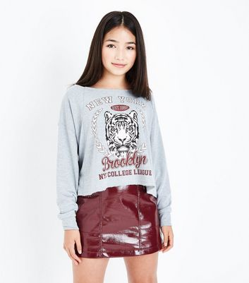 Teens Grey New York Slogan Sweatshirt