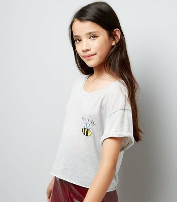 Teens Grey Bumble Bae Slogan Crop Top