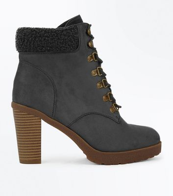 Wide Fit Grey Suedette Borg Cuff Lace Up Boots