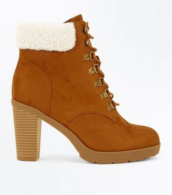 Wide Fit Tan Suedette Borg Cuff Lace Up Boots