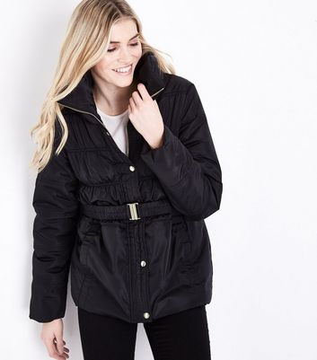 Black High Neck Belted Puffer Jacket