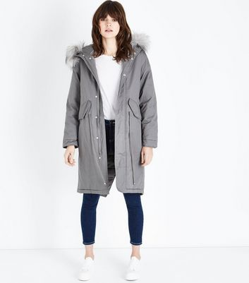 Pale Grey Longline Faux Fur Trim Parka