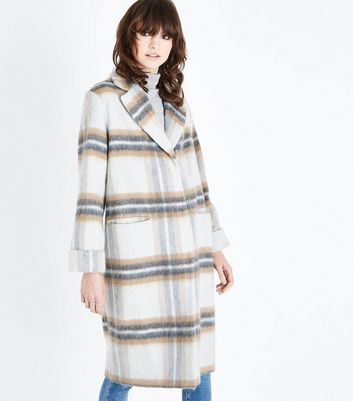 Light Grey Brushed Check Oversized Coat