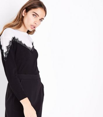 Blue Vanilla Black Colour Block Lace Trim Jumper