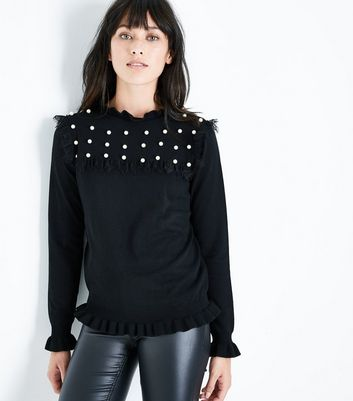 Blue Vanilla Black Pearl Embellished Frill Trim Jumper