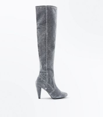 Wide Fit Silver Glitter Cone Heel Over The Knee Boots