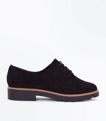 Black Suedette Chunky Sole Lace Up Shoes