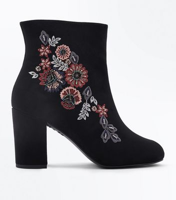 Wide Fit Black Suedette Floral Embroidered Ankle Boots