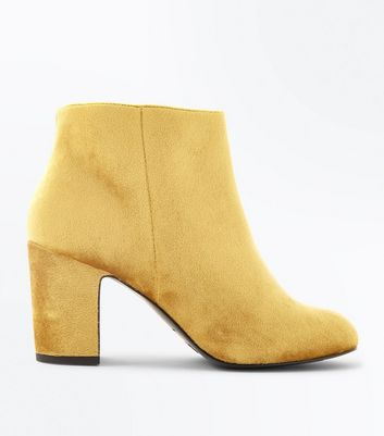 Wide Fit Yellow Velvet Heeled Boots