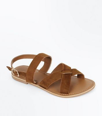 Tan Suede Cross Strap Sandals